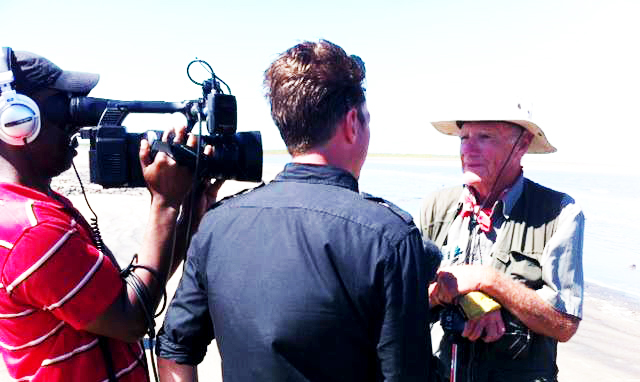 David Lemon being interviewed at end of walk in Mozambique