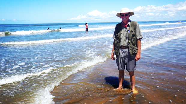 David Lemon reaches the ocean in Mozambique