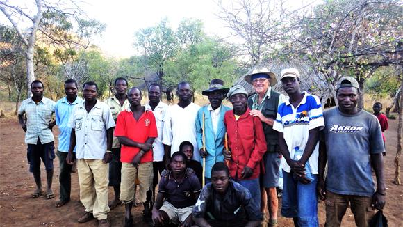 David Lemon at village in Mozambique